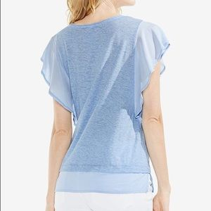 Vince Camuto Mixed Media Flutter-Sleeve Top